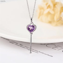 цена gemstone jewelry wholesale unique 925 sterling silver natural amethyst  purple crystal charm necklace pendant for female онлайн в 2017 году