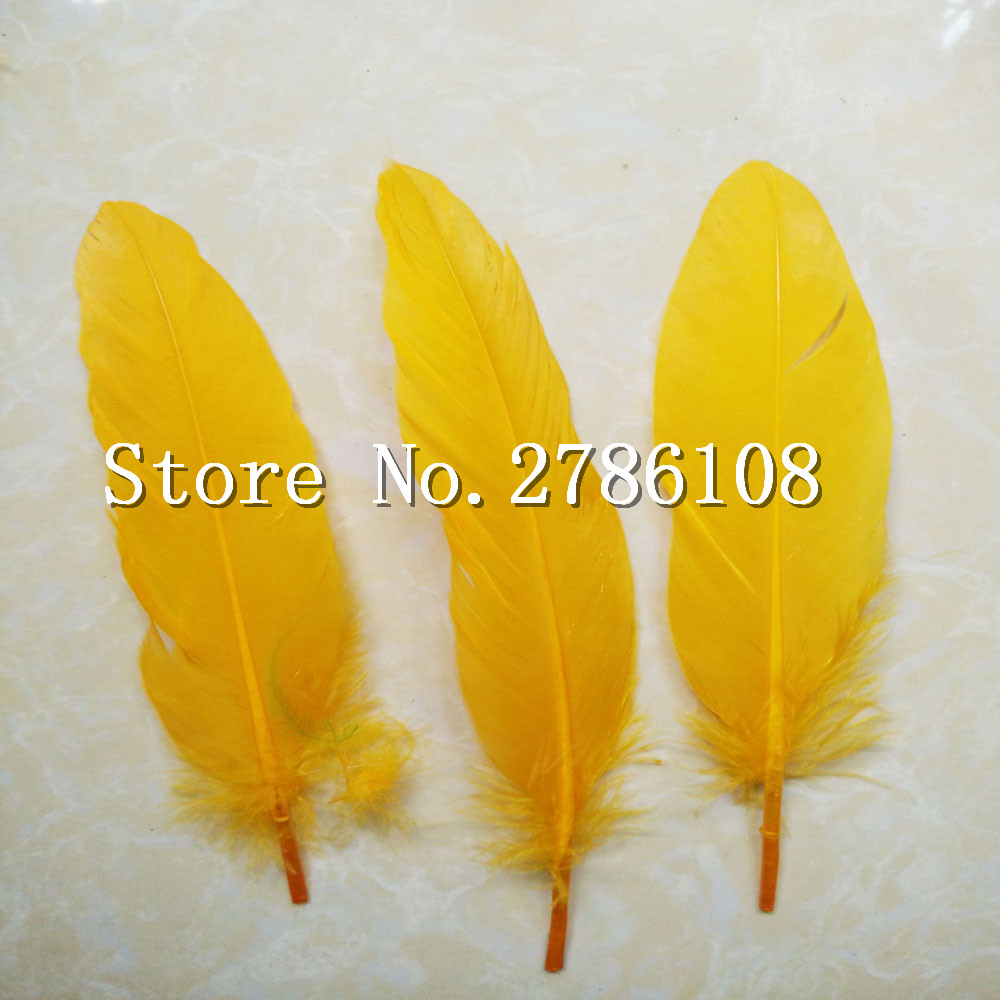 New 200 Pcs DIY Natural Fluffy goose Feathers Christmas Cosplay decoration clothing shoes hat accessories Gold Yellow Wholesale