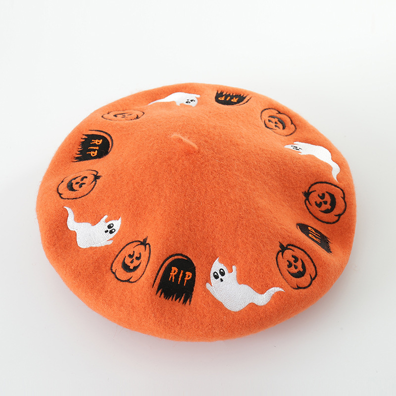 New autumn and winter Halloween cartoon embroidery wool beret painter hat ladies fashion wool bud hat women hat girl gorras-in Women's Berets from Apparel Accessories
