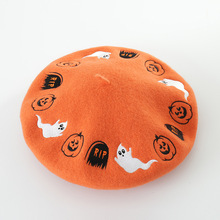 New autumn and winter Halloween cartoon embroidery wool beret painter hat ladies fashion wool bud hat women hat girl gorras