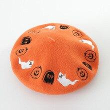 Nova outono e inverno Dia Das Bruxas dos desenhos animados do bordado de lã boina chapéu pintor bud chapéu de lã da forma das senhoras das mulheres menina chapéu gorras