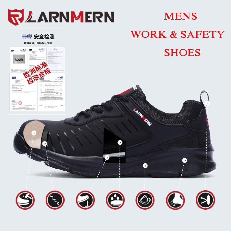 LARNMERN Men Work & Safety Shoes Steel Toe Caps Anti-smashing Security Shoes Breathable Boots Anti-slip Working Footwear