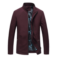Pure Color Men's Long Sleeve Jacket 5XL Navy Blue Wine Red Black Fashion Casual Middle aged Men Coats Spring New Mens Jackets