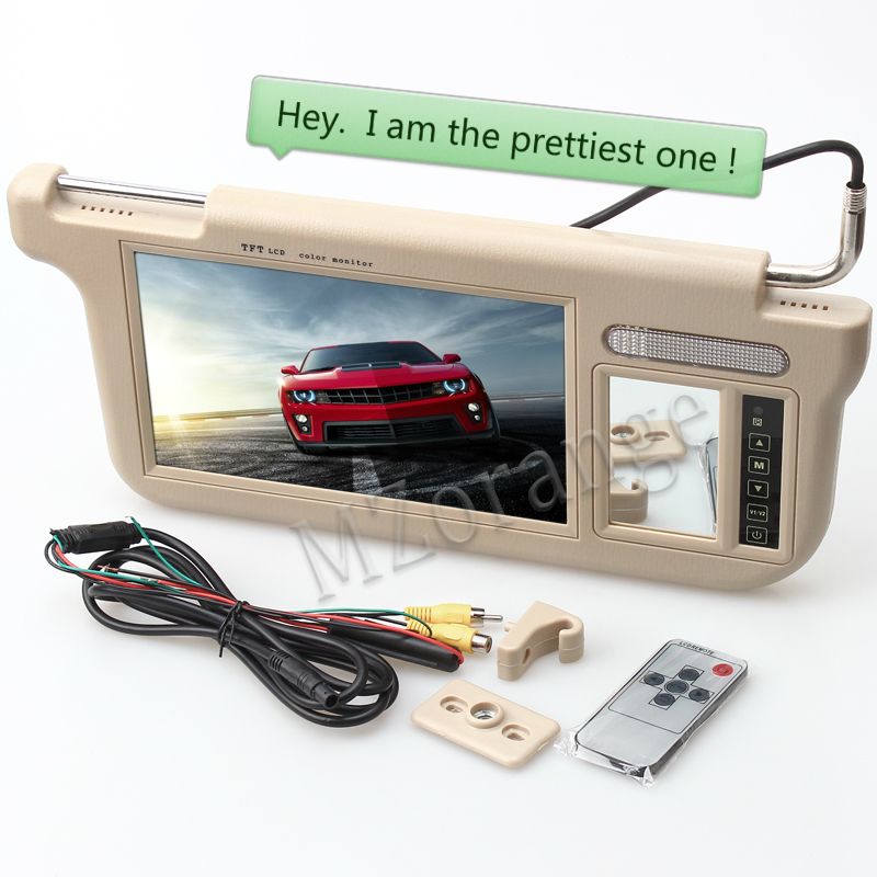 MZORANGE 1 piece 9 inch TFT LCD Car Sun Visor Monitors Display left or right beige black grey 2 Ways Video Input car monitor-in Car Monitors from Automobiles & Motorcycles    1