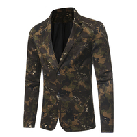 Male 2017 New Autumn Business Casual Suit Camouflage Series Of Male Small Suit Optional Wedding Groom