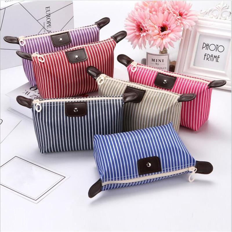Fashion Waterproof Dumpling Solid Striped Fold Makeup Bag Soft Portable Korean Make Up Bags Makeup Wash Cosmetic Bag