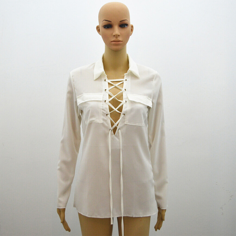Women Long Sleeve Blouse White Shirt Sexy Lace Up Criss Cross ...