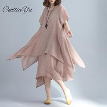 Summer 2019 New Cotton And Hemp Dresses Female Pure False Two Medium-long Round-collar Comfortable Large Size Womens Dress