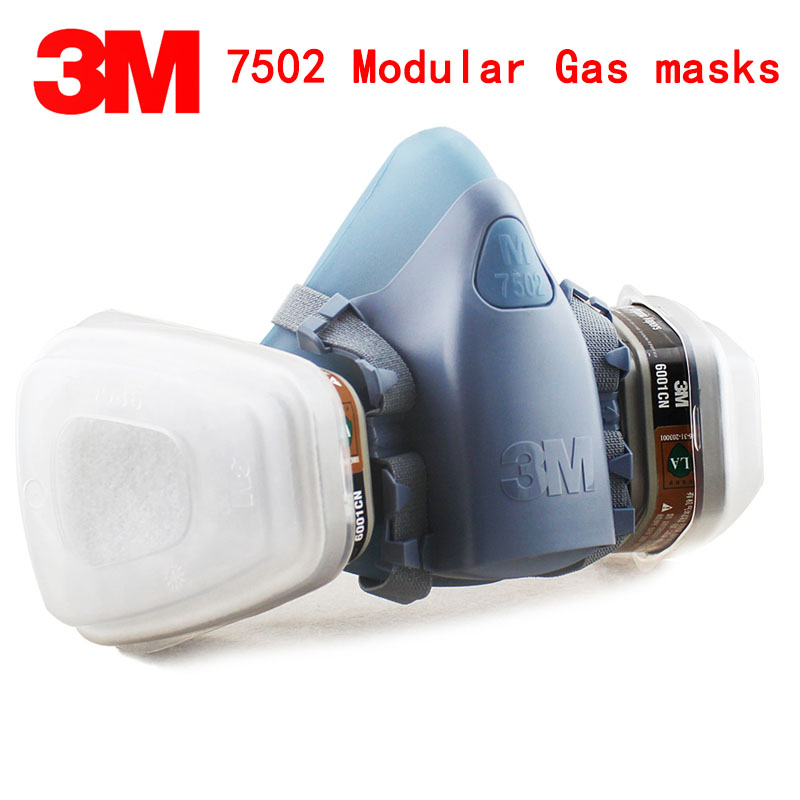 3M 7502 respirator gas mask Genuine high quality protective mask With 6001 filter 5N11 filter 501 filter cover chemical gas mask 7502 of reusable respirator mask gas mask portable respirator protective fire masks
