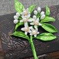 Orange цветок Дерево Броши Ювелирные Изделия Аксессуары жемчуг зеленый брошь старинные ювелирные изделия