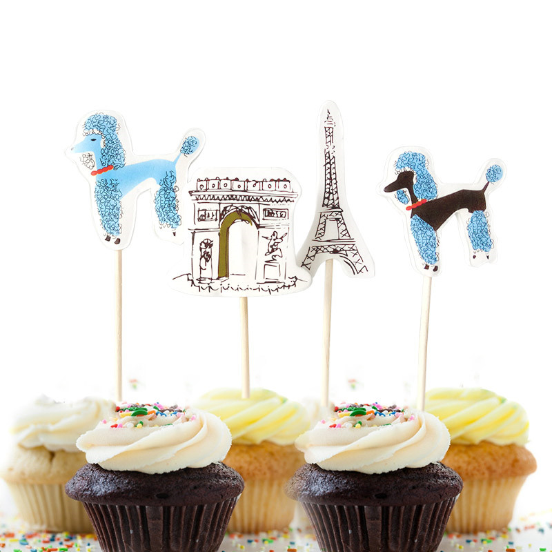 New Home Party Decorations: 2017 New 24pcs Cupcake Toppers Lovely Dogs In Paris Party