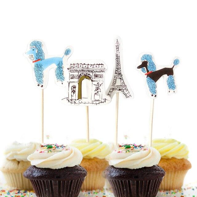 WondLove Histoire 24 pcs Gâteau Toppers Belle Chiens Dans Paris Gâteau  Topper Baby Shower Enfants Fête
