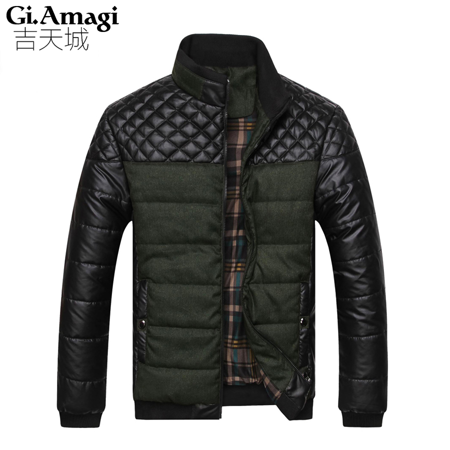 ФОТО New 2015 PU leather Splice Slim stand Collar Winter Jacket Men Casual Parka Men padded Winter Jacket Casual Handsome Coat