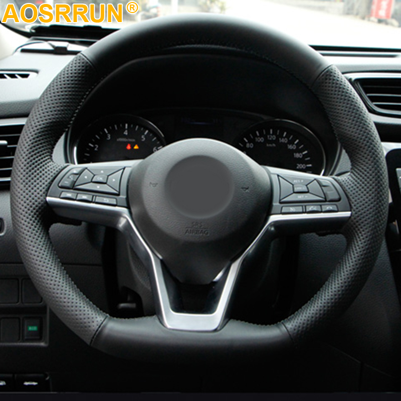 For Nissan March Rogue Qashqai 2017 Serena Hand Sewing Car Steering Wheel Cover
