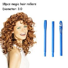 18pcs diameter 3 cm quality plastic spiral magic hair rollers  no heat curlers easy to use curling tools 40-75 curler