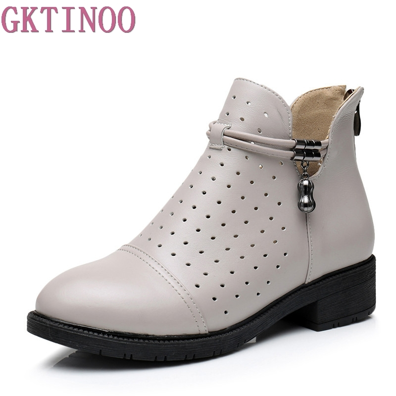 GKTINOO Large Size 35-43 Women Shoes Spring Summer New Hollow Out Sandals Boots Genuine Leather Shoes Med Heels Woman Boots