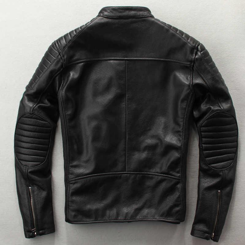 2c21893c35b ... Мужская Модная приталенная куртка из натуральной кожи коричневого и  черного цвета