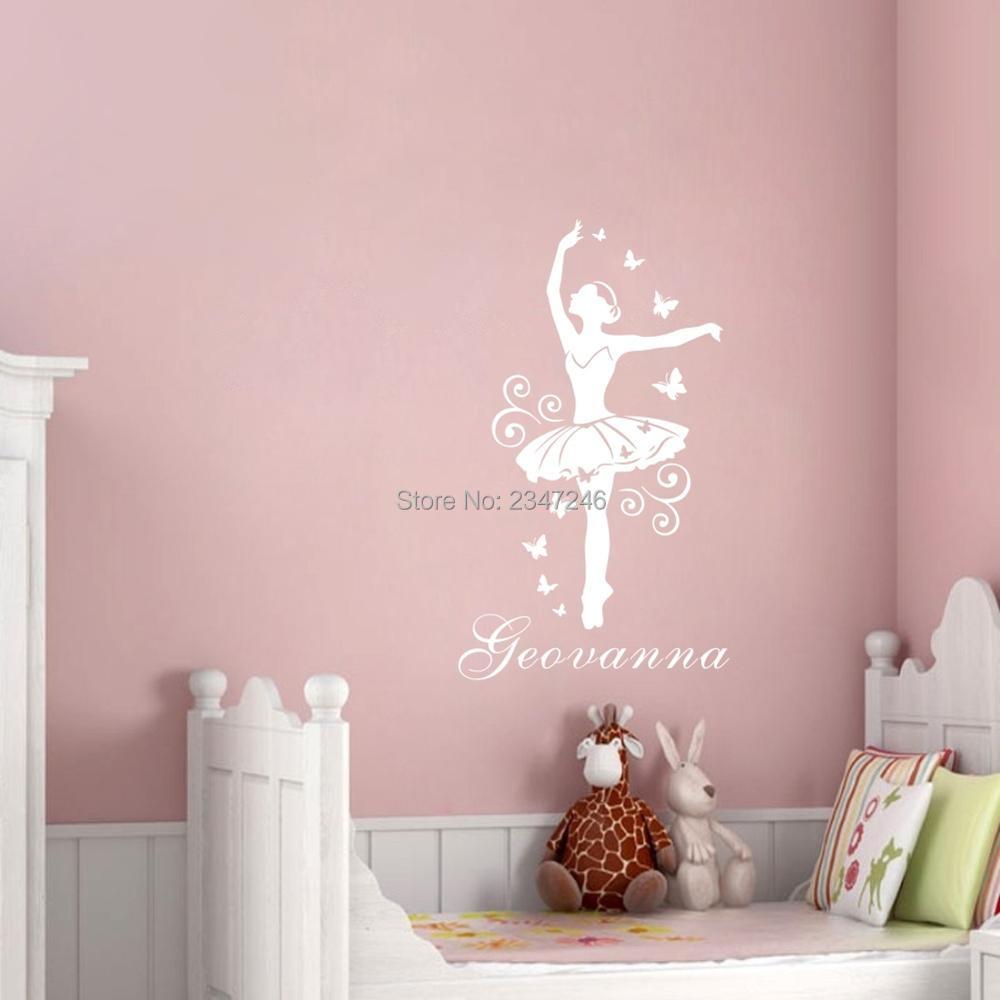Personalized ballerina custom name vinyl wall sticker for Ballerina wall mural