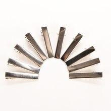 Гладить зажим для волос для укладки волос серебряный плоский металлический Одноместный зубец Аллигатор заколки 50 шт.