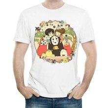 Spirited Away T Shirt White Color Mens Fashion Short Sleeve Miyazaki Hayao T-shirt Tops Tees tshirt