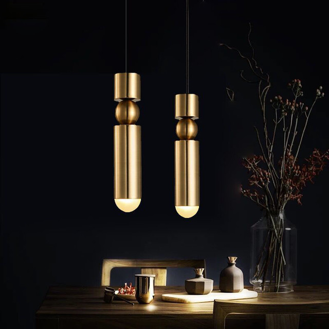 Nordic Brass Pendant Lamp Modern Kitchen Lamp Dining Room Bar Counter Shop Pipe Pendant Down Tube LED Lights office Livingroom