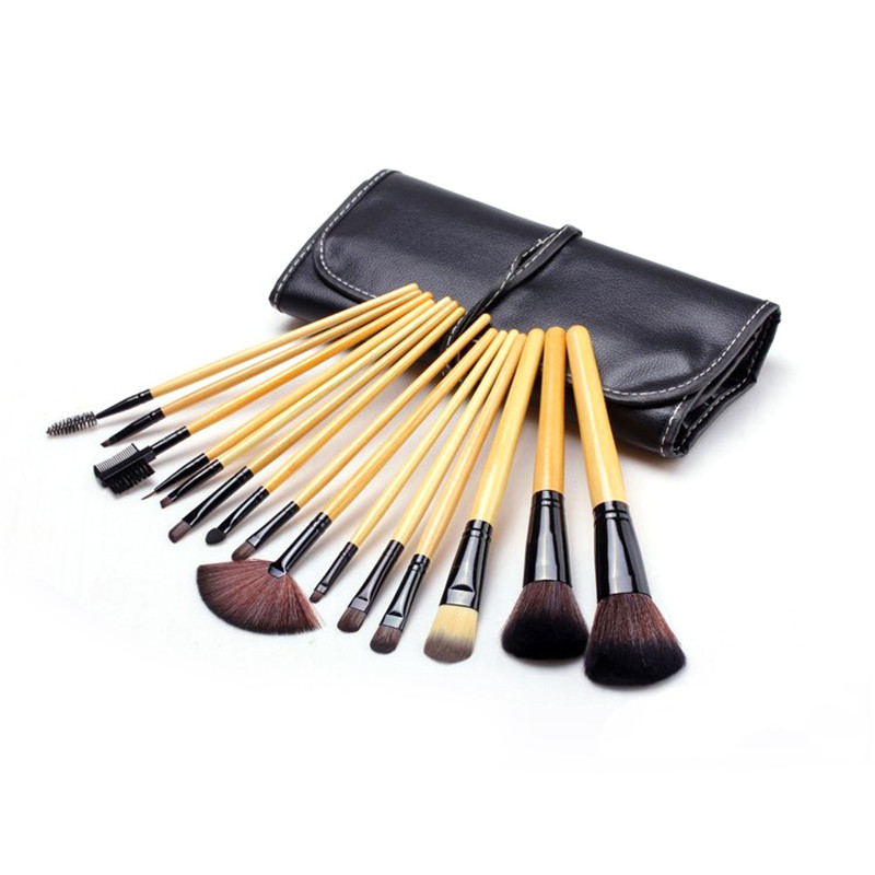 ELECOOL 15PCS Makeup Brushes Set Cosmetic Foundation eyeshadow powder Blush make up Brush Tool for Women + Leather Case msq 15pcs professional makeup brushes set foundation fiber goat hair make up brush kit with pu leather case makeup beauty tool