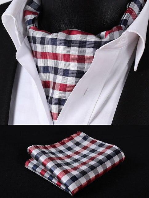 Rc201v темно-синий красный проверьте шелковый галстук тканые Ascot галстук карманный площадь платок костюм комплект