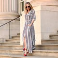 Long Shirt Dress Side Slits 2017 Sexy Turn-down Collar Slim Long-sleeve Brief Maxi Striped Dresses Hot Sale Vestidos New Fashion