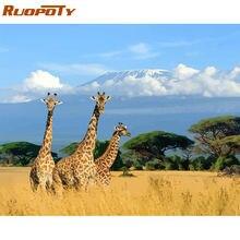 Ruopoty рамка Жираф diy Краска по номерам животные набор акриловая