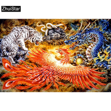 3D Embroidery Dragon Painting-Tiger-Snake-Mosaic-Decor Cross-Stitch Diamond Full-Square-Drill