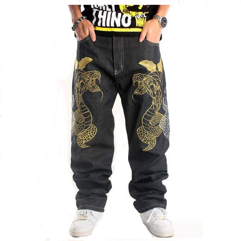 Big Size Men Jeans 2016 New Fashion Street Dance Clothing Boa Embroidery Loose Black Lon ...