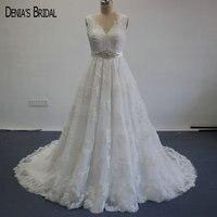 Elegant A Line Wedding Dresses V Neck Appliqued Sleeveless Sashes Vestidos De Novias