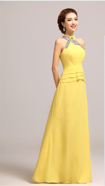 Bright Diamond The Bride Wedding Yellow Halter Neck Evening Dress Formal Dinner Party Y