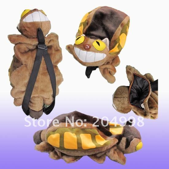 "Free shipping Anime My Neighbor Totoro Cat Bus Plush Bag 20"" Cosplay  Backpack Toy"