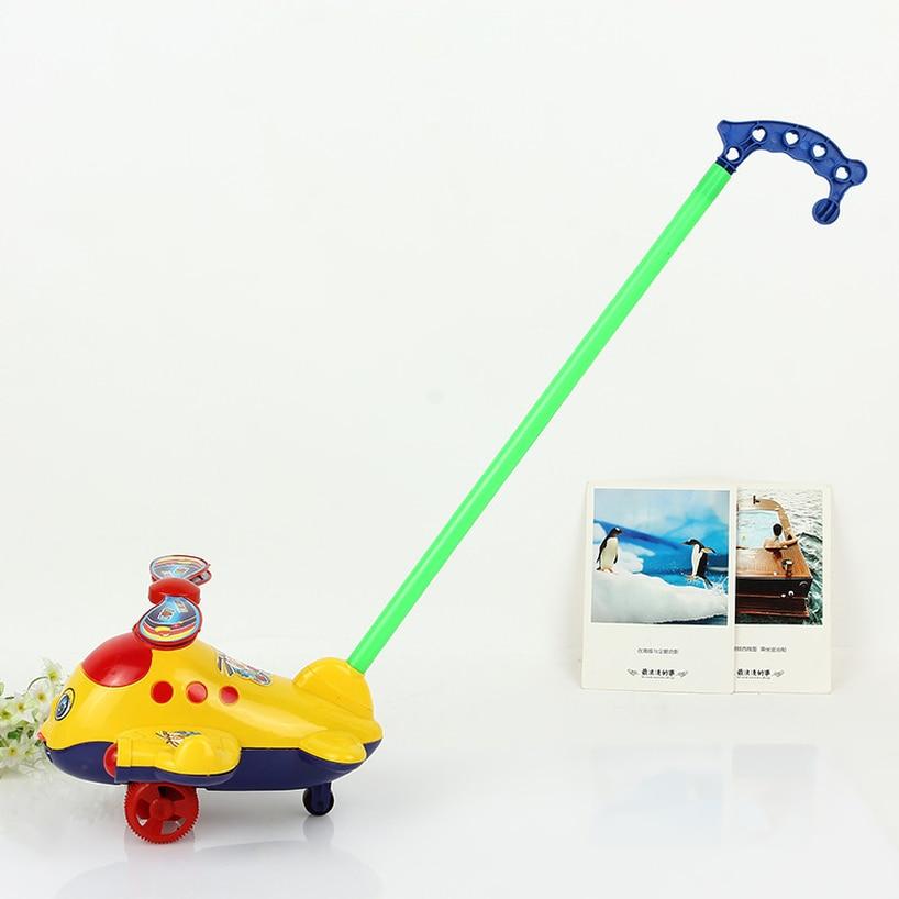 Triciclo bebé niño cochecito empujar avión juguetes para niños música con campana de un solo palo lengua juguete bebé caminador con ruedas