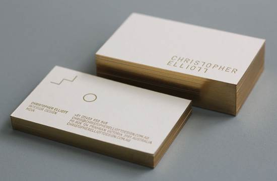 600g paper custom Gold gliding edges letterpress business cards