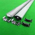 3-10 unids/lote 0.5 m/unids de canal del led, perfil de aluminio para 5050,5630 la tira llevada, lechoso/cubierta transparente de 12mm pcb