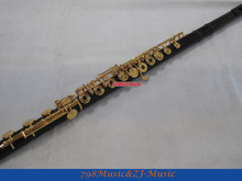 Professional Grenadilla Flute-B foot-Open Hole-Split-E-Offset-G-Gold Plated WITH case-With Patent Joint professional concert flute gold plated woodwind instruments flute 16 hole c key student small elbow silvering flute