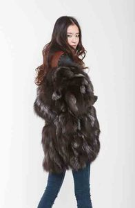 Image 2 - New Free Shipping New Fashion Women Fashion Real Natural Fox Fur Long Coat Jacket for Winter Warm Over Coat FP335