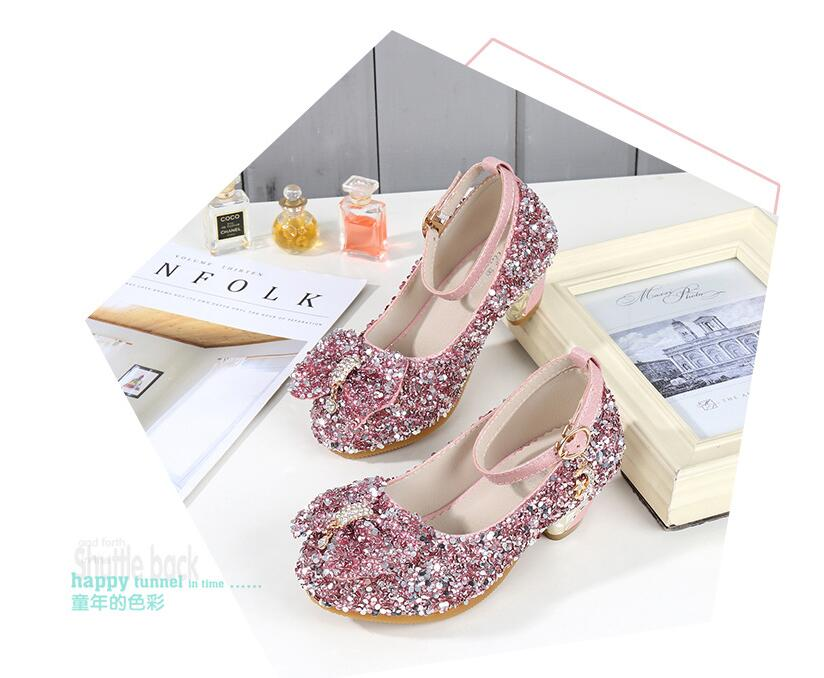 Princess Kids Leather Shoes For Girls Flower Casual Glitter Children High  Heel Girls Shoes Butterfly Knot Pink 745cd12944f3