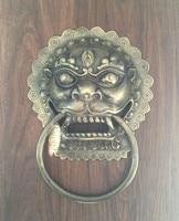 Аутентичные! Китайские антикварные copperhandle Shoutou дверной молоток медное кольцо дверная ручка львиная голова молоток