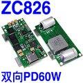 ZC826 двунаправленный PD мобильный источник питания DIY Автомобиль заряжен 60 Вт полный протокол печатной платы T1000