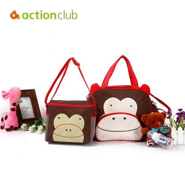 Wholesale 2 bags /set Fashion Maternity Nappy Bags Cartoon Animals multicolor Mummy bags Baby Care Mother Women Handbag Hobos