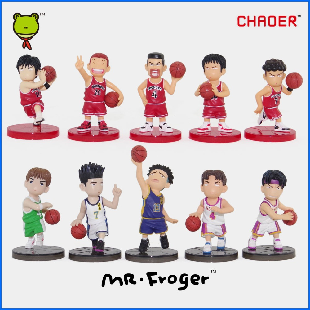 ФОТО mr.froger slam dunk chibi dolls action figures cute 6 of set 7.5cm q version brinquedos figure classic toys for children model