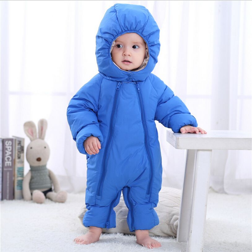 2017 NEW Baby Rompers Winter Thick Warm Baby Boy Clothing Long Sleeve Hooded Jumpsuit Kids Girl Baby For 0-12M warm thicken baby rompers long sleeve organic cotton autumn