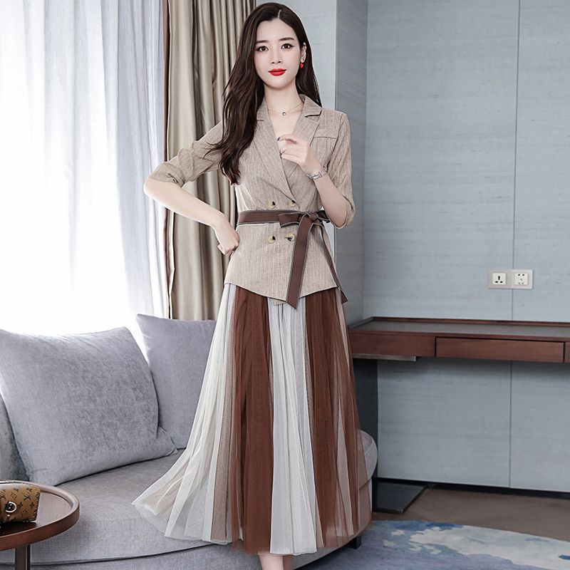 2019 Two Piece Sets Outfits Women Office Suit With Belt And Pleated Skirt Suits Vintage Korean Ladies 2 Piece Sets Femme 33