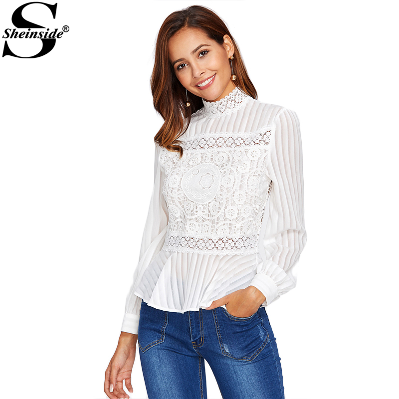 5dec7a365 Sheinside Lace Panel See Through Peplum Blouse White Sexy High Neck Long  Sleeve Button Blouse Women Elegant Blouse-in Blouses & Shirts from Women's  Clothing ...