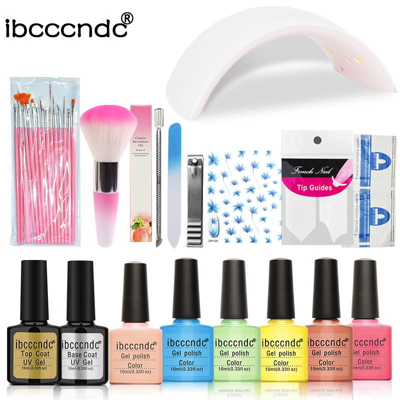 Nail Art Manicure Tool Nail Sticker 24W Led Lamp+6 Color 10ml UV Gel Base Top Coat Polish with French Tip Remover Practice Set nail art manicure tools set uv lamp 10 bottle soak off gel nail base gel top coat polish nail art manicure sets