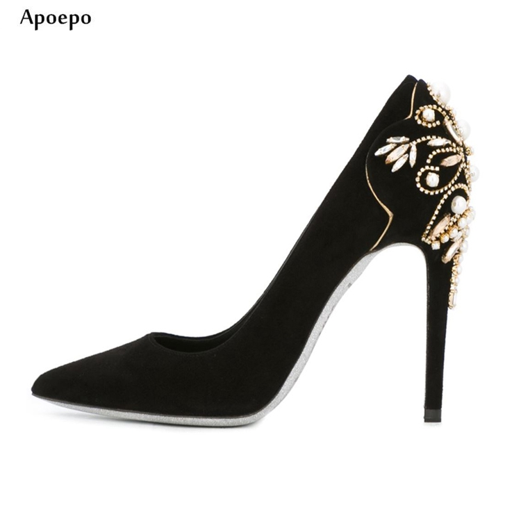 Apoepo Hot Selling Crystal Embellished High Heel Shoes 2018 Sexy Pointed Toe Stiletto Heels Slip-on Wedding Shoes for Woman hot selling silver leather pointed toe high heel shoes 2017 sexy thick heels crystal embellished pump cutouts ankle strap shoes