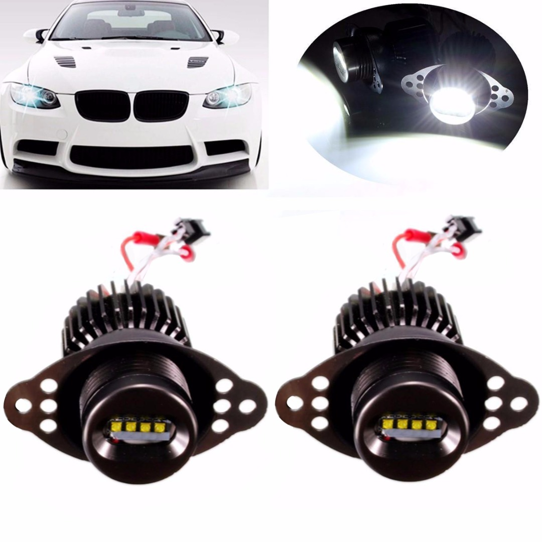 цена на 2Pcs High Quality 20W Car LED Angel Eyes Marker Halo Ring Light Bulb For BMW E90 LCI Super Bright White Lamp With Accessories